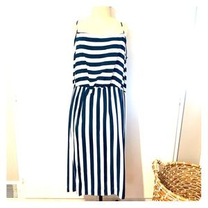 ASOS Curve navy striped dress